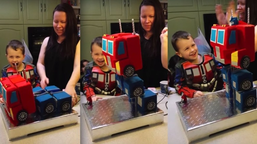 Transformers Birthday Cake Transforming Birthday Cake Optimus Prime Youtube
