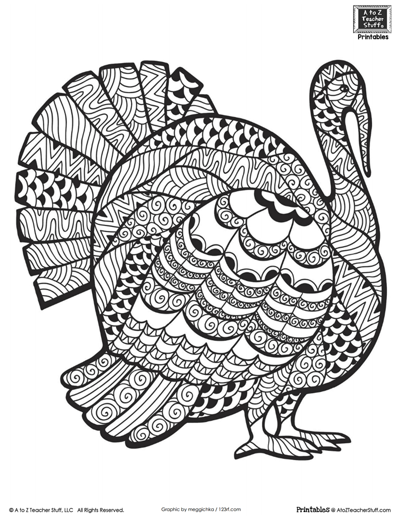 Turkey Coloring Pages Detailed Turkey Advanced Coloring Page A To Z Teacher Stuff