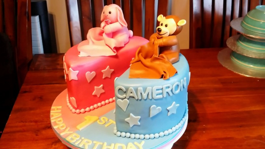 Twins Birthday Cake Girlboy Twins First Birthday Cake Youtube