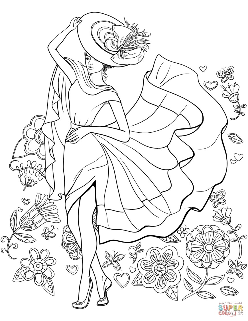 Up Coloring Pages Lady Pin Up Coloring Page Free Printable Coloring Pages