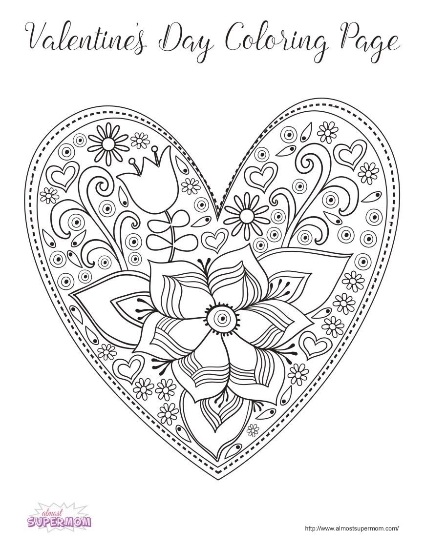 Valentine Day Coloring Pages Free Valentines Day Coloring Pages For Grown Ups Almost Supermom