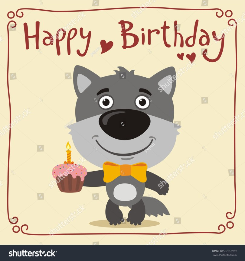 Wolf Birthday Cake Happy Birthday Funny Wolf Cake Greeting Stock Vector Royalty Free