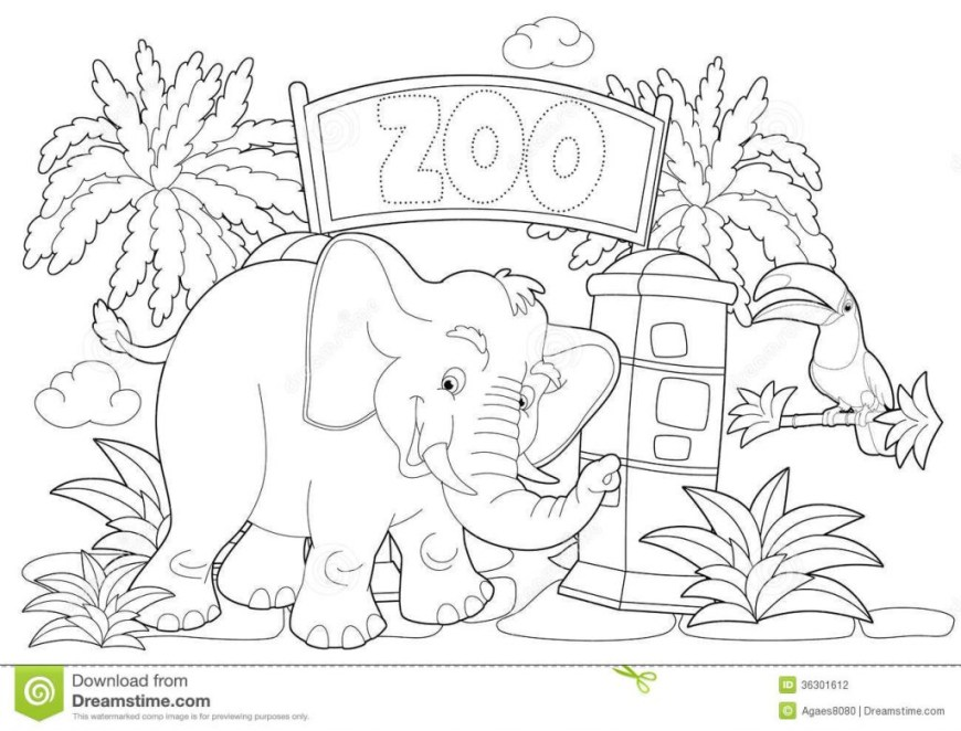 Zoo Coloring Pages Portfolio Zoo Coloring Pages Page The Illustration For Children Stock