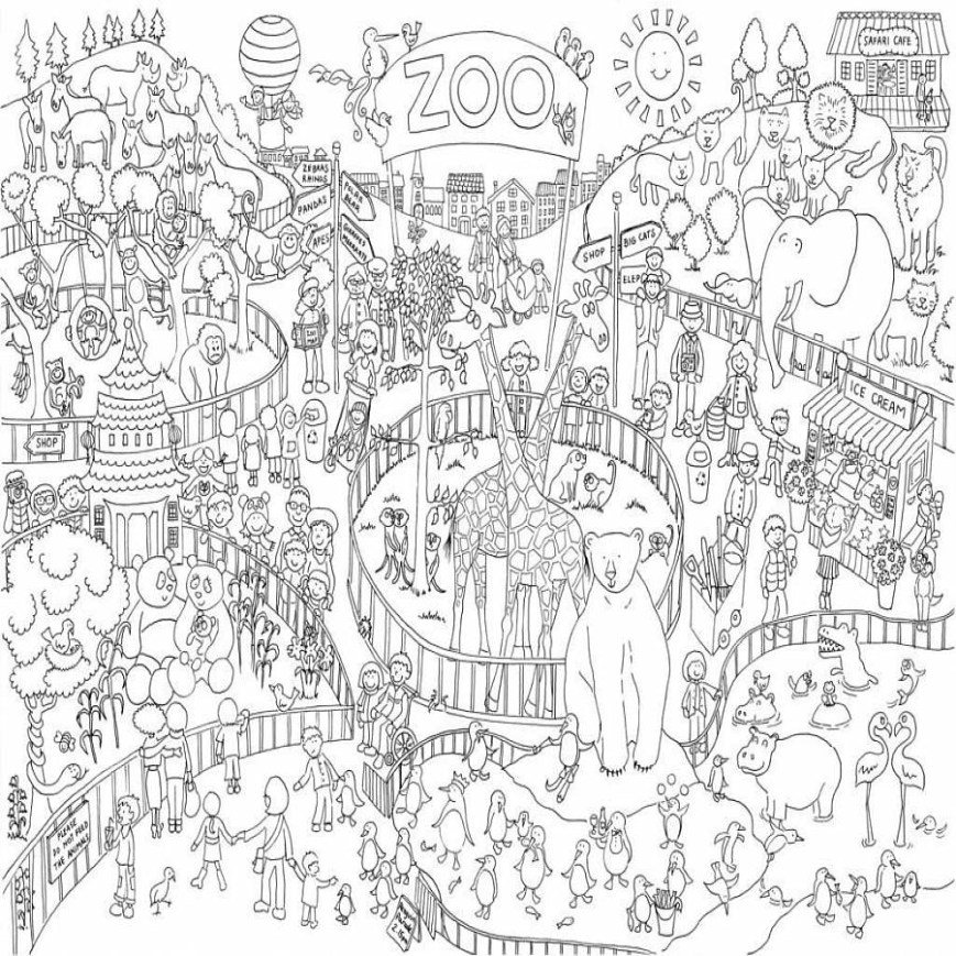 Zoo Coloring Pages Zoo Colouring In Poster Really Giant Posters Poster Coloring
