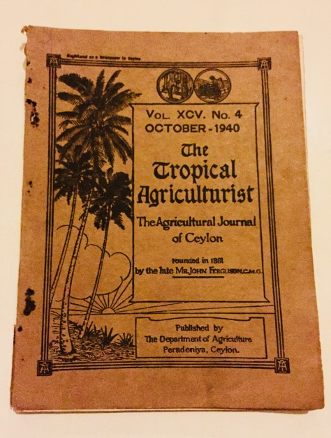 The Tropical Agriculturalist – Sri Lanka Books & Ledgers