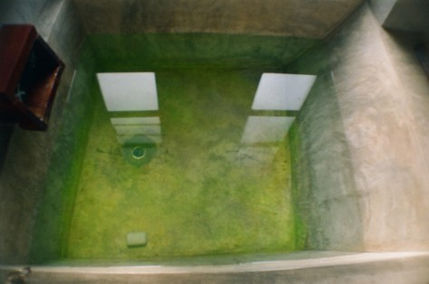Towns and Trains: when i arrive in Chiang Mai, first take a hot bath in a rendered concrete tub