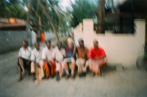 Scenes of Life in Tripunitura & Kochi: me and a gang of local chaps who came to say hello when i was out making an oil pastel painting