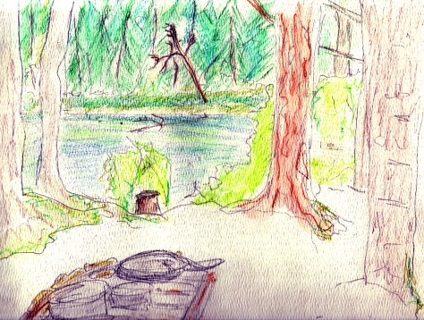 Letters from Russia: Hot lunch en route (watercolour pencil) v.2