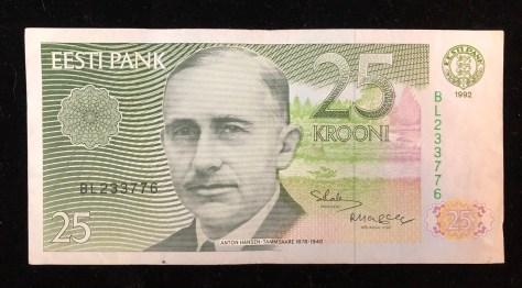 Estonia (Eesti Pank): 25 Krooni (front)