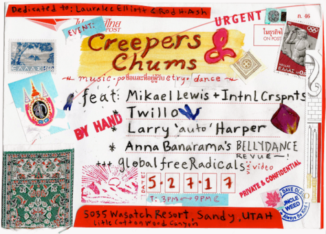 Creeper & Chums - memorial party announcement (mixed-media, Dave Olson)