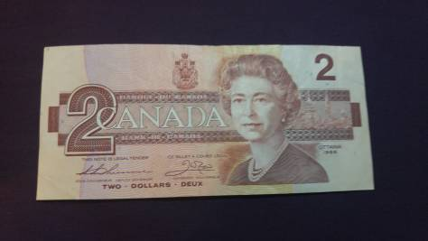Canada: 2 Dollar (featuring Queen Elizabeth 2 of UK) front – thanks to Pvt. Ben Rees CF