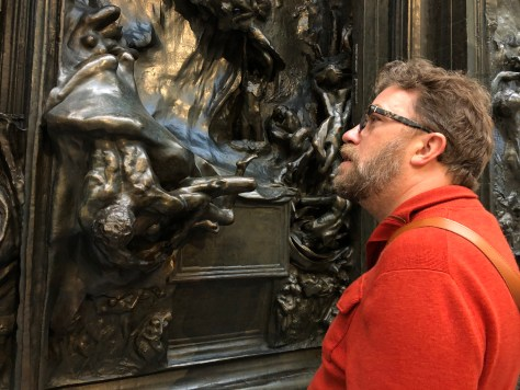 Dave gazes at Rodin's interpretation of the Gates of Hell from Dante's Inferno