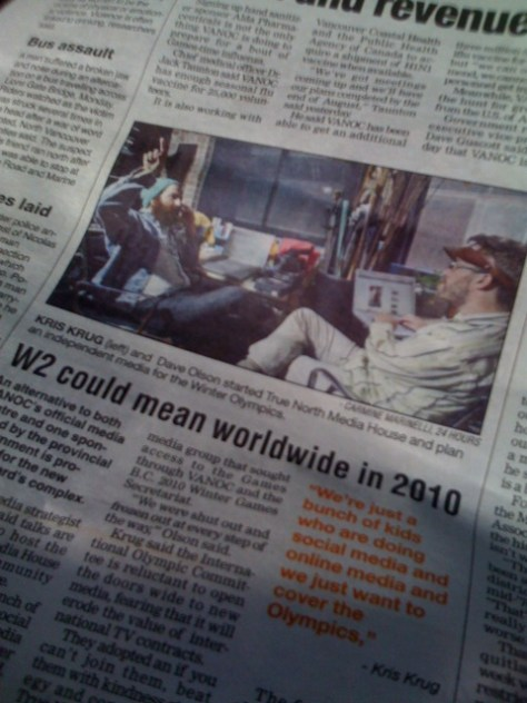Dave and Kris Krug in 24 Hours newspaper discussing media and Olympics