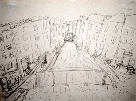 "Bridge and canal (with cheese shop and bicycles), Amsterdam, The Netherlands, 2005 - pencil on paper 11"" x 17"""