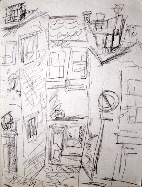 "Little lane to a door (24) to elsewhere, Amsterdam, The Netherlands, 2005 - pencil on paper 11""x17"""