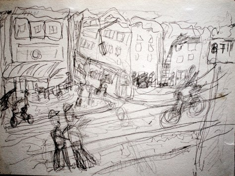 "Cyclist runs red light, Police whistle to no avail (while i wait for a bus) - Amsterdam, The Netherlands, 2005, pencil on paper 11""x17"""