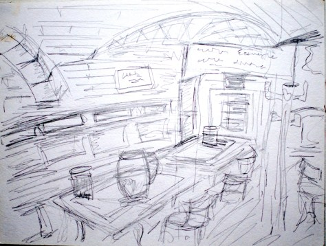 "Beer and mussels in a cellar bar with wooden beams - Brussellex, Belgique, 2005, pencil on paper 11""x17"""