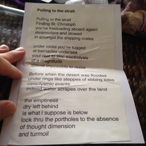 Greetz from Elsewhere: Pulling the Strait (poem, inside card)
