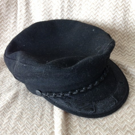 Hats: Greece, fisherman's cap, black –acquired Athens (or Olympia)
