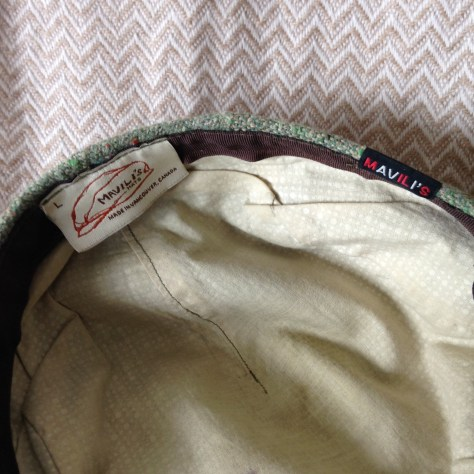 Hats: inside of green, flatcap (pageboy), handmade by Mavili – a hatmaker originally from Georgia (country, not state) and purchased at Lonsdale Quay