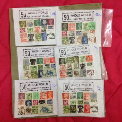 50 Whole World All Different Stamps x 6: India, Items Assembled