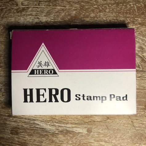 "Items: stationery, ink stamp pad (""Hero"", fuchsia-ish, dyeable ink pad)"