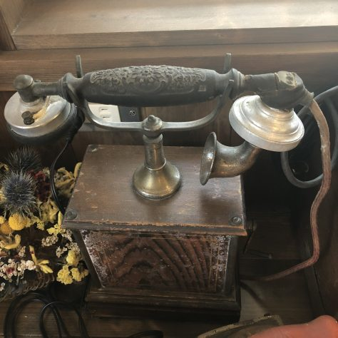 Artifacts: Phone, brown, no dial (in a coffee shop in Nozawa Onsen)