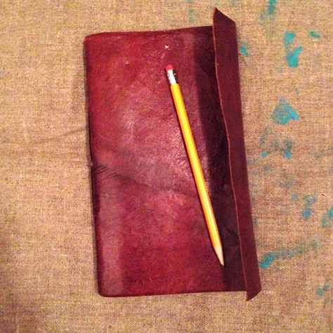 Journal: Ship notes / poetry + sketches musings, 2016 (thin leather, with pencil)