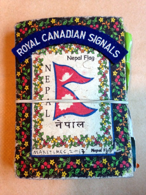 Scrapbook: purchased Nepal > filled Maritimes, 2017 / ephemera, annotations, musings (Nepal + Royal Canadian Signals cover)