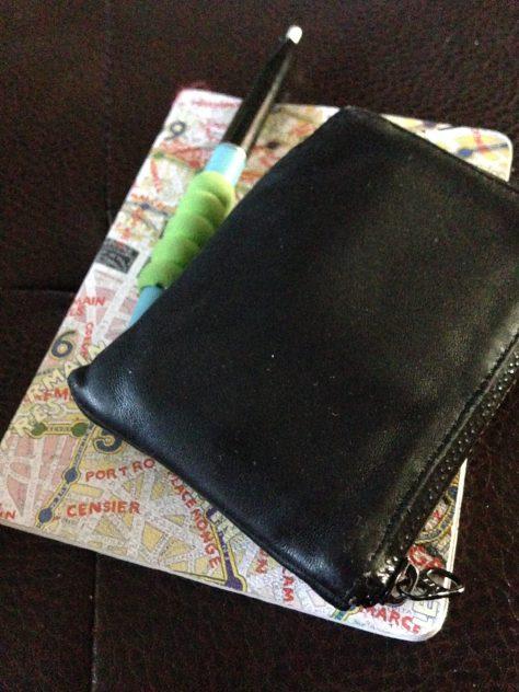 Notebook: circa 2016 (map cover + wallet + pen