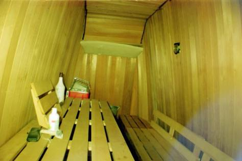 Evidence of Sauna inside Earthship VW bus