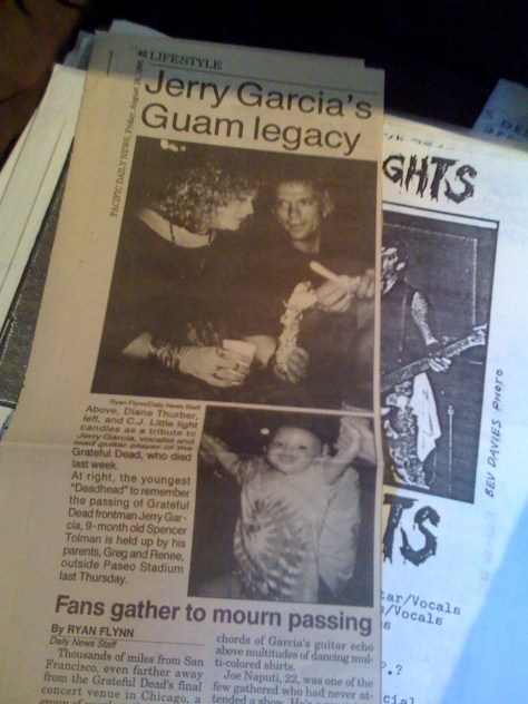Pacific Daily News article re: Jerry Garcia death