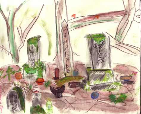 paint-Elsewhere-Graves near Gonda (Nagano, Japan)  watercolour pencil