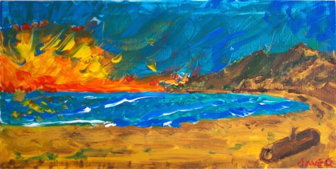 paint-elsewhere-Bay Sunset, near Clayoquot Sound (Vancouver Island)  acrylic