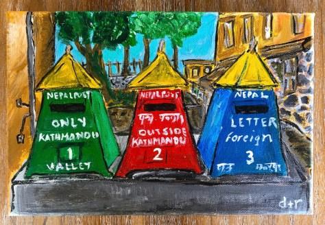 Postboxes (Kathmandu) / acrylic etc – Painting
