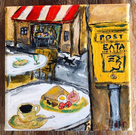 Café and Postbox with cat (Olympia, Greece) / acrylic etc.