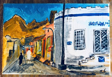 Post office with cat (Muscat, Oman) / acrylic etc.
