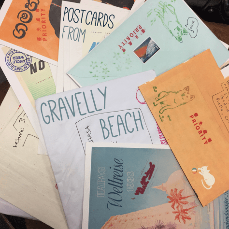 Postcards from Gravelly Beach - Array of Envelopes and Cards