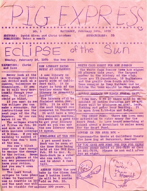 Pig Express - community newspaper, vol. 1, February 24, 1979 - Eclipse of the Sun