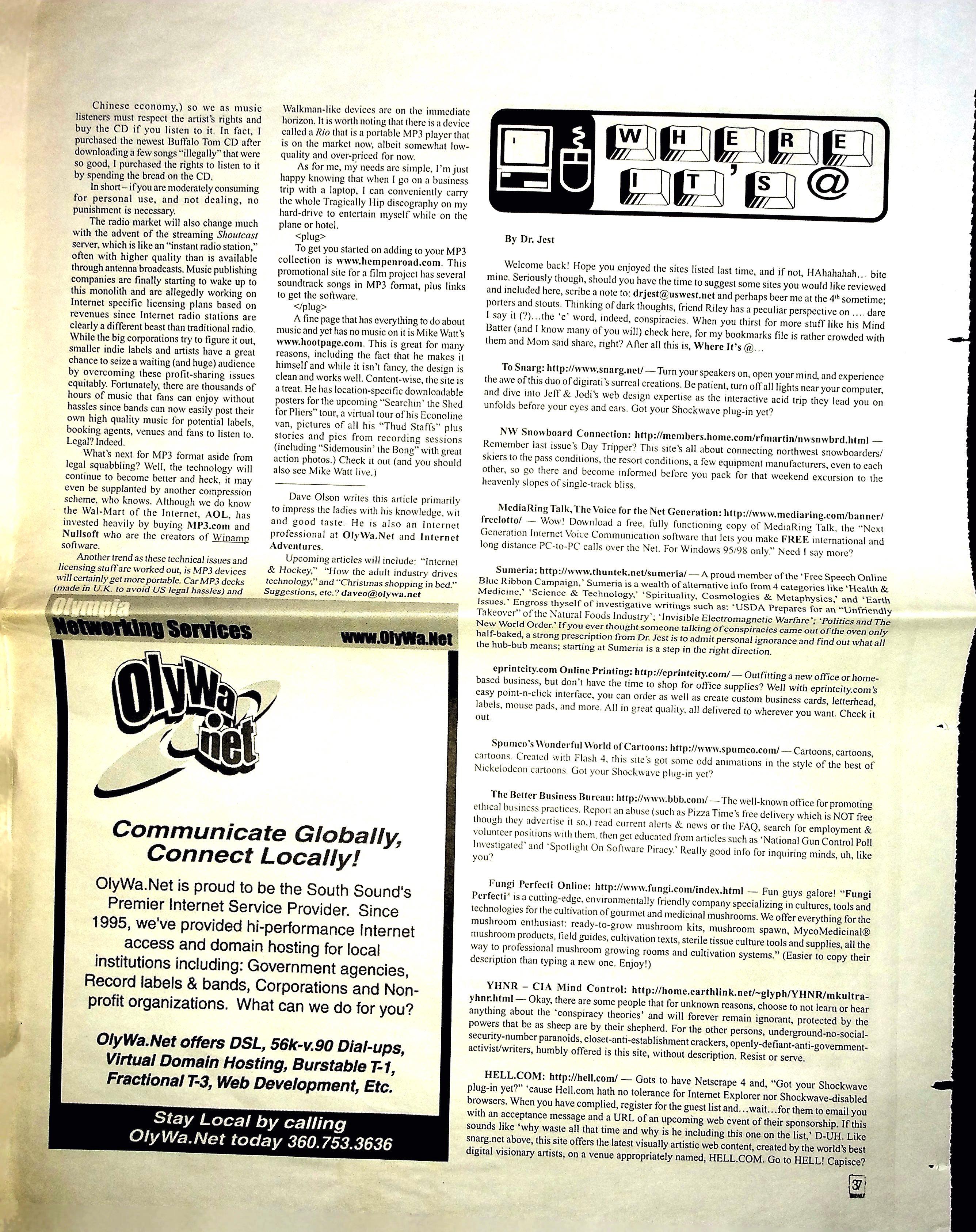 Pub Mp3 Lowdown Menu Magazine Olympia Nov 1999 Dave Olson Creative Life Archive