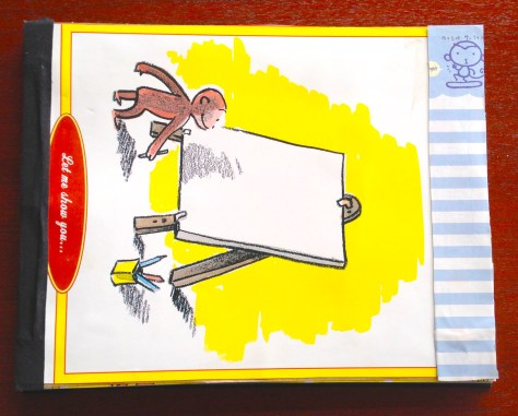 Scrapbook: Guestbook, 2015 / salutations (Curious George, canvas on easel + Japanese monkey)