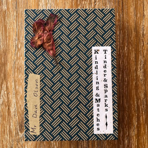 "Scrapjournal: ""Kindling & Matches,"" inspo and amuse (front), 2019"