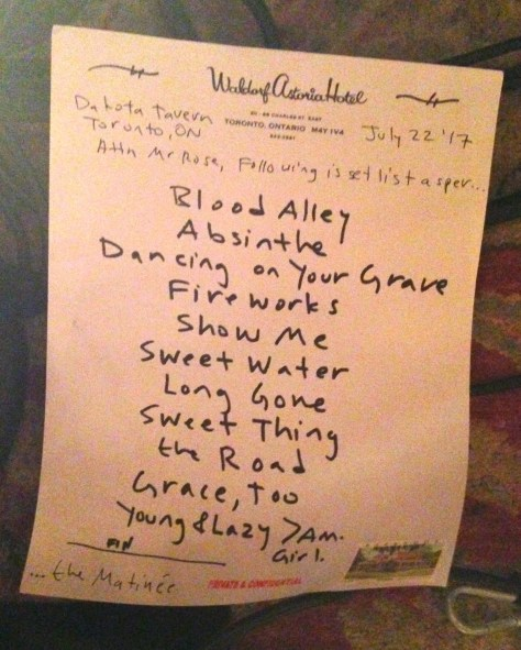 The Matinee Set list