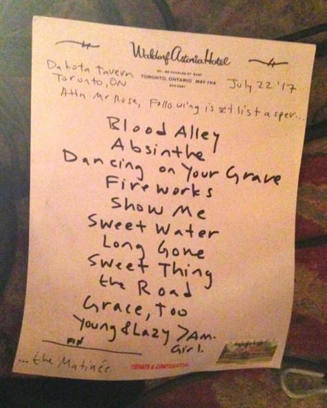 The Matinee Set list