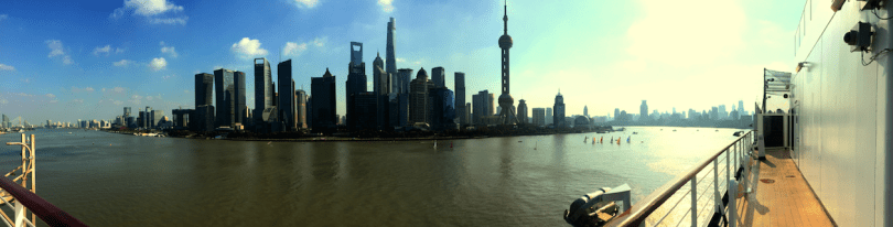 Header: Shanghai skyline from ship and deck