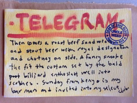Telegrams from the Majestic Hotel: 3 (roast beef sandwich)