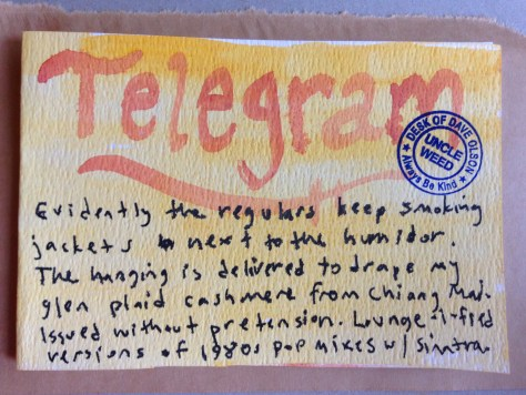 Telegrams from the Majestic Hotel: 4 (smoking jacket)
