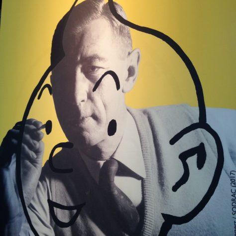 Québec City Exhibit art detail - Hergé draws Tintin