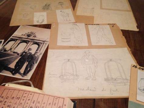 Reference photo and sketches for Blue Lotus (China-inspired) – Hergé / Tintin artifacts in Québec City