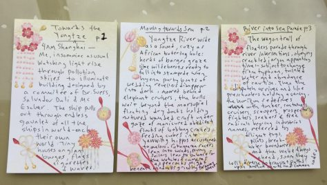 Poem: Yangtze Morning, cards (handwritten)